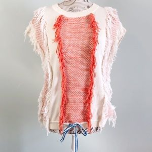J. Crew sleeveless sweater fringe orange cream